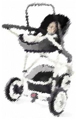 Autostoel op wandelwagen-onderstel