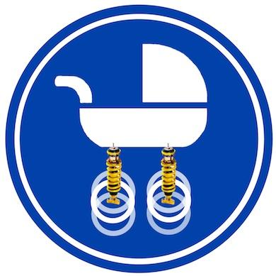 Blauw verkeersbord met een afbeelding van een uitstekend geveerde en gedempte kinderwagen (de wielen trillen, de wagen niet)