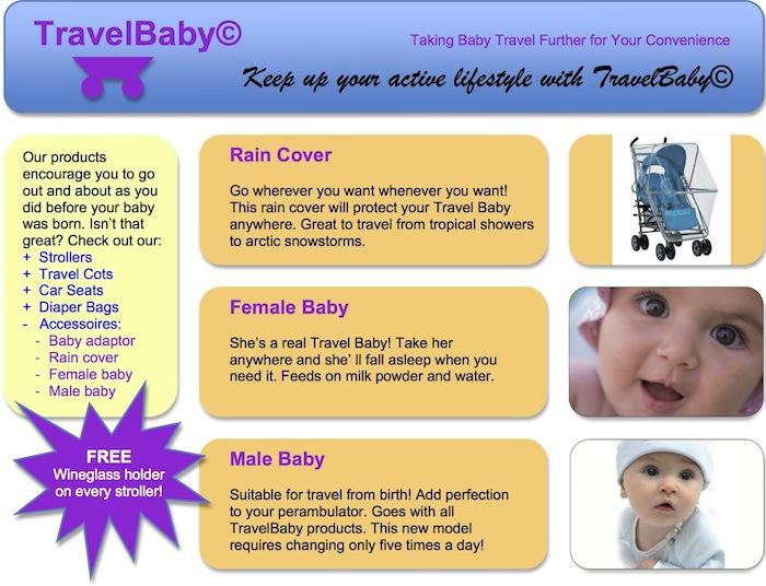 Fake Advertentie voor 'TravelBaby'