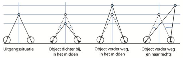 Afbeelding van twee ogen die op verschillende afstanden focussen.